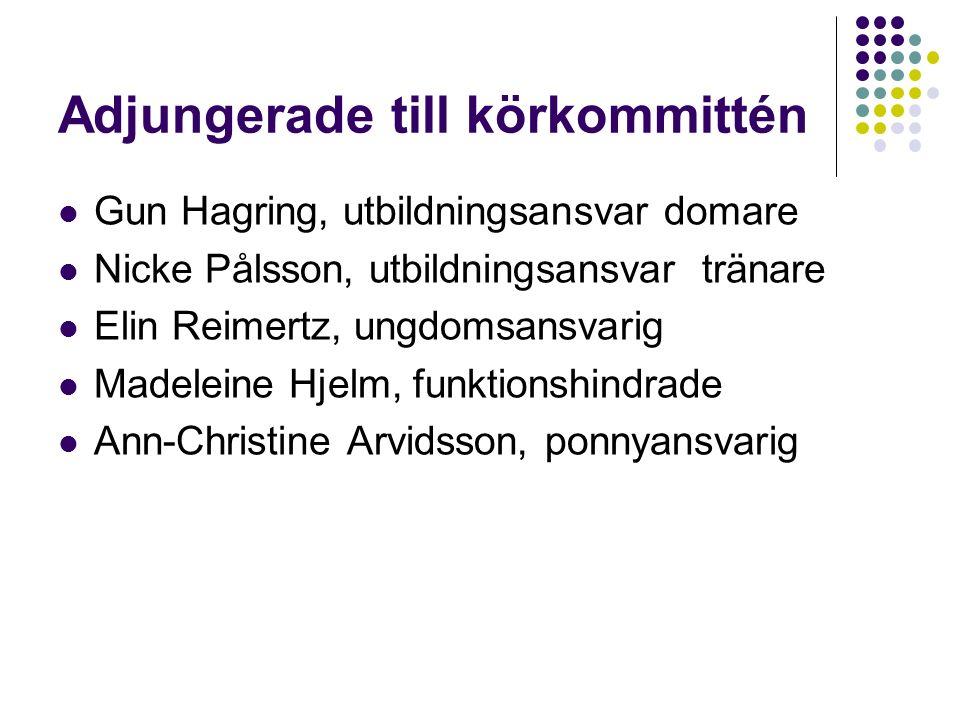 Adjungerade till körkommittén Gun Hagring, utbildningsansvar domare Nicke Pålsson, utbildningsansvar tränare Elin Reimertz, ungdomsansvarig Madeleine Hjelm, funktionshindrade Ann-Christine Arvidsson, ponnyansvarig
