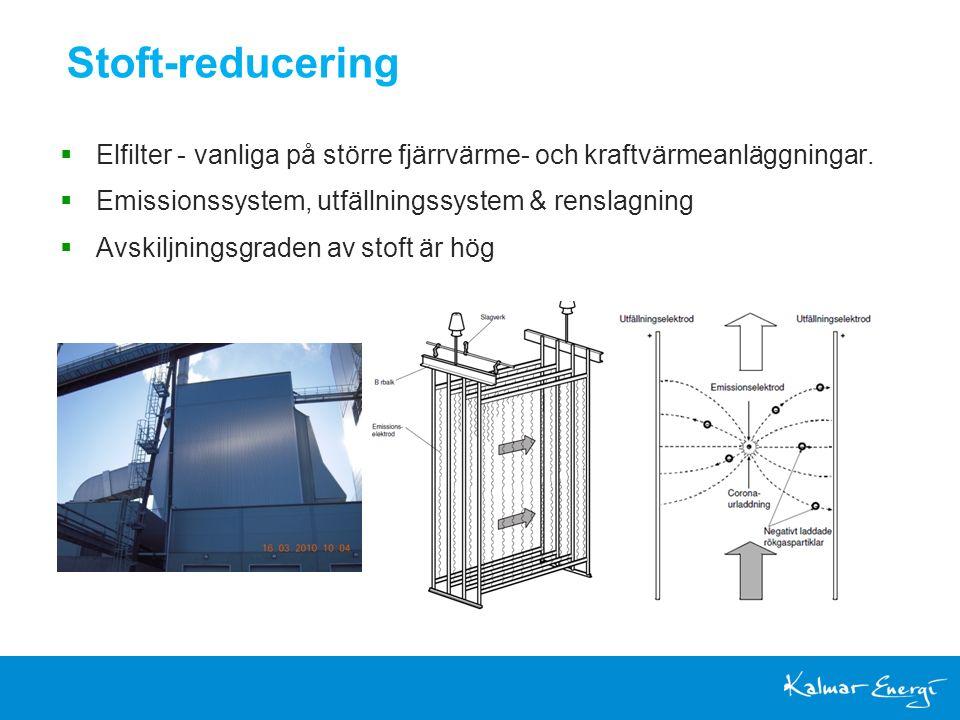 Stoft-reducering  Elfilter - vanliga på större fjärrvärme- och kraftvärmeanläggningar.