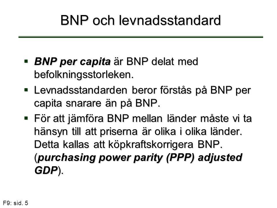 F9: sid. 5 BNP och levnadsstandard  BNP per capita är BNP delat med befolkningsstorleken.