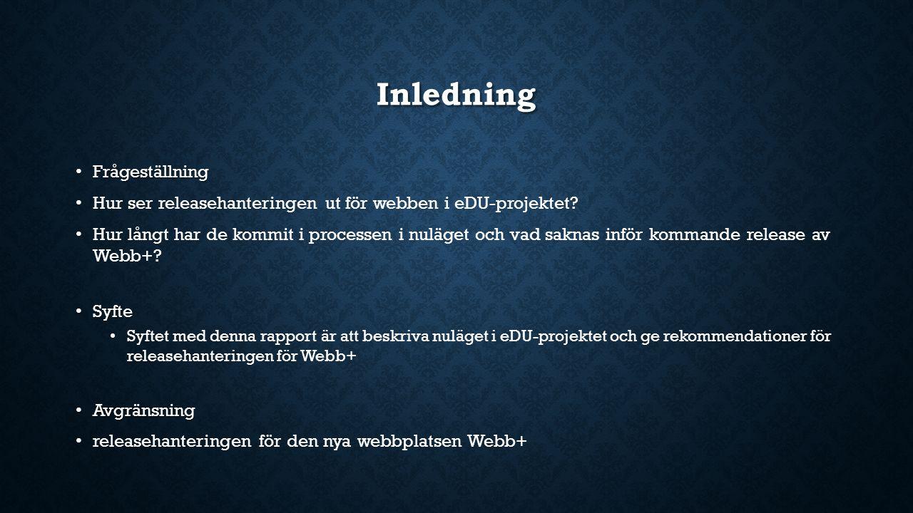 Inledning Frågeställning Frågeställning Hur ser releasehanteringen ut för webben i eDU-projektet? Hur långt har de kommit i processen i nuläget och va
