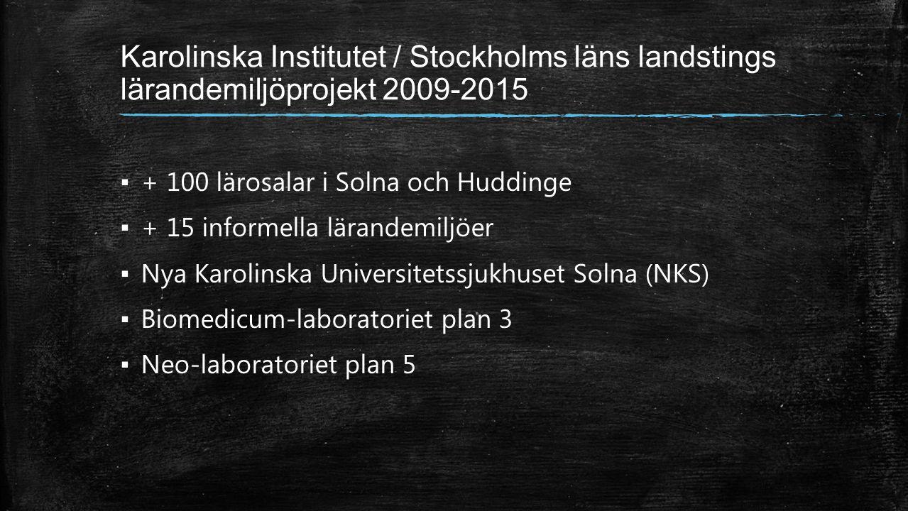 Karolinska Institutet / Stockholms läns landstings lärandemiljöprojekt 2009-2015 ▪ + 100 lärosalar i Solna och Huddinge ▪ + 15 informella lärandemiljöer ▪ Nya Karolinska Universitetssjukhuset Solna (NKS) ▪ Biomedicum-laboratoriet plan 3 ▪ Neo-laboratoriet plan 5