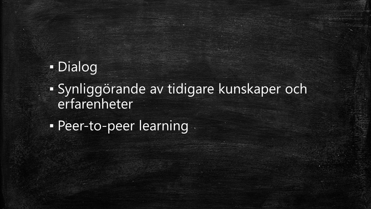 ▪ Dialog ▪ Synliggörande av tidigare kunskaper och erfarenheter ▪ Peer-to-peer learning