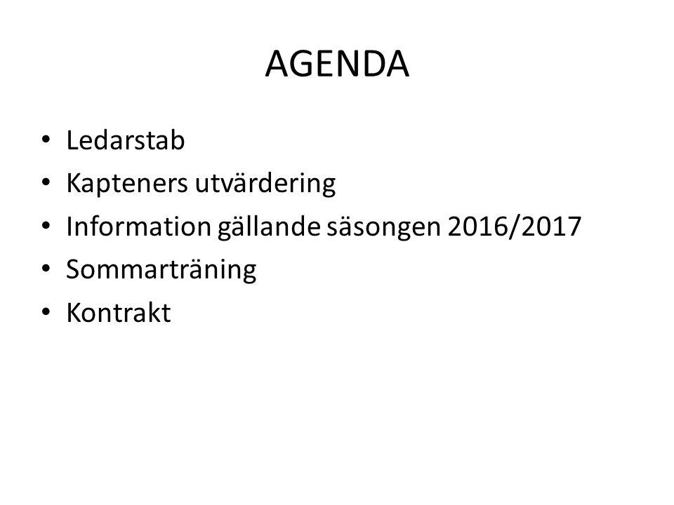 AGENDA Ledarstab Kapteners utvärdering Information gällande säsongen 2016/2017 Sommarträning Kontrakt