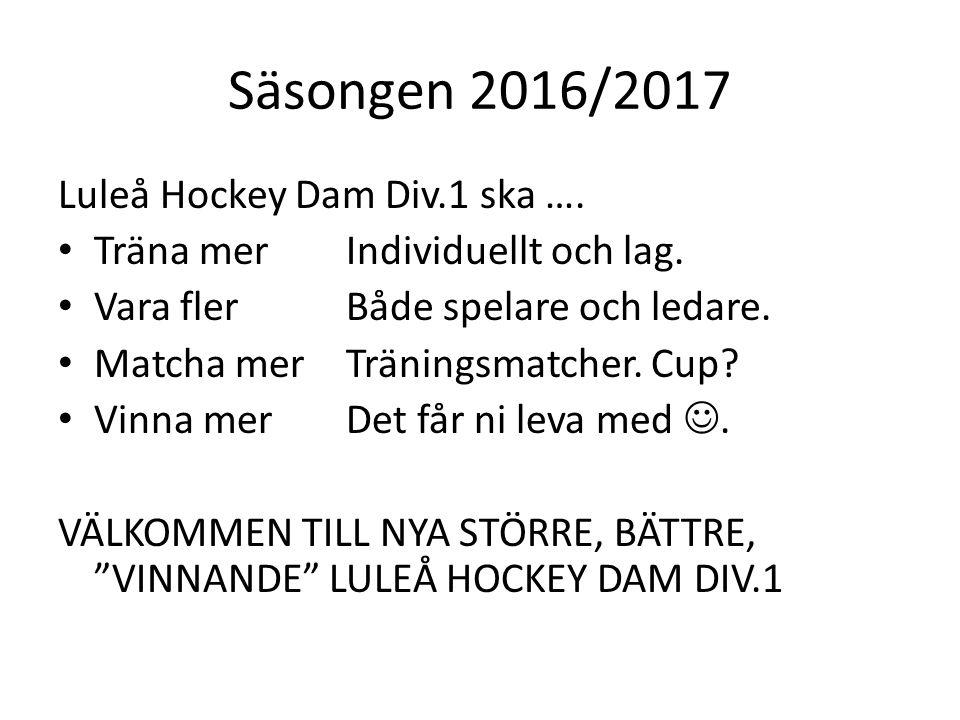 Säsongen 2016/2017 Luleå Hockey Dam Div.1 ska …. Träna merIndividuellt och lag.