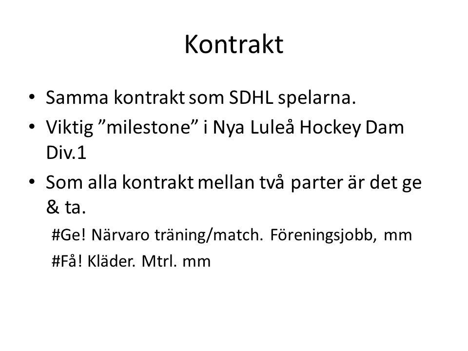 Kontrakt Samma kontrakt som SDHL spelarna.