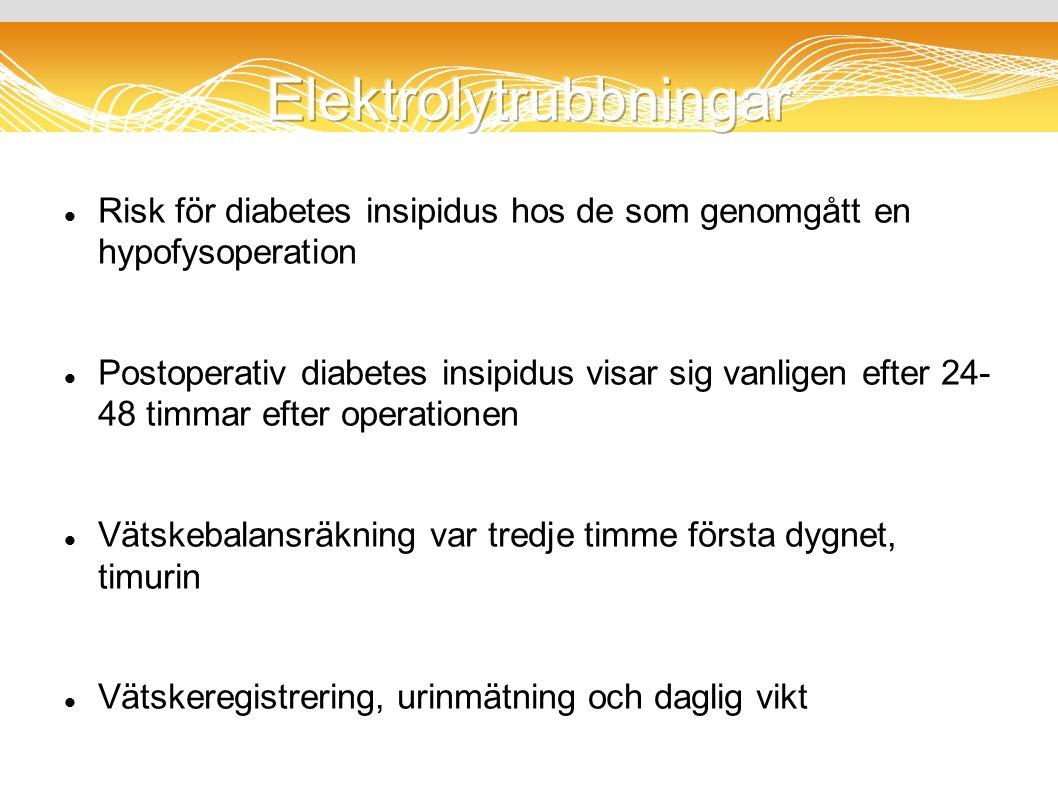 Risk för diabetes insipidus hos de som genomgått en hypofysoperation Postoperativ diabetes insipidus visar sig vanligen efter 24- 48 timmar efter operationen Vätskebalansräkning var tredje timme första dygnet, timurin Vätskeregistrering, urinmätning och daglig vikt