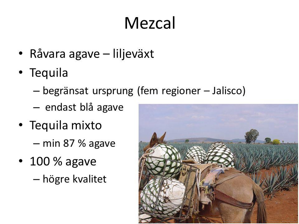 Mezcal Råvara agave – liljeväxt Tequila – begränsat ursprung (fem regioner – Jalisco) – endast blå agave Tequila mixto – min 87 % agave 100 % agave – högre kvalitet