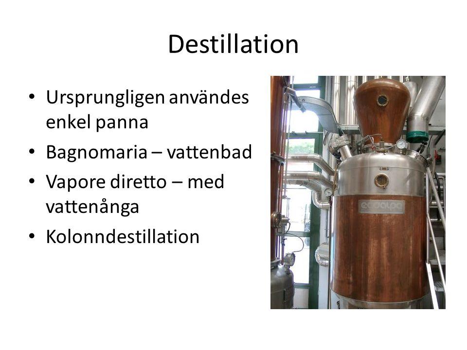 Destillation Ursprungligen användes enkel panna Bagnomaria – vattenbad Vapore diretto – med vattenånga Kolonndestillation