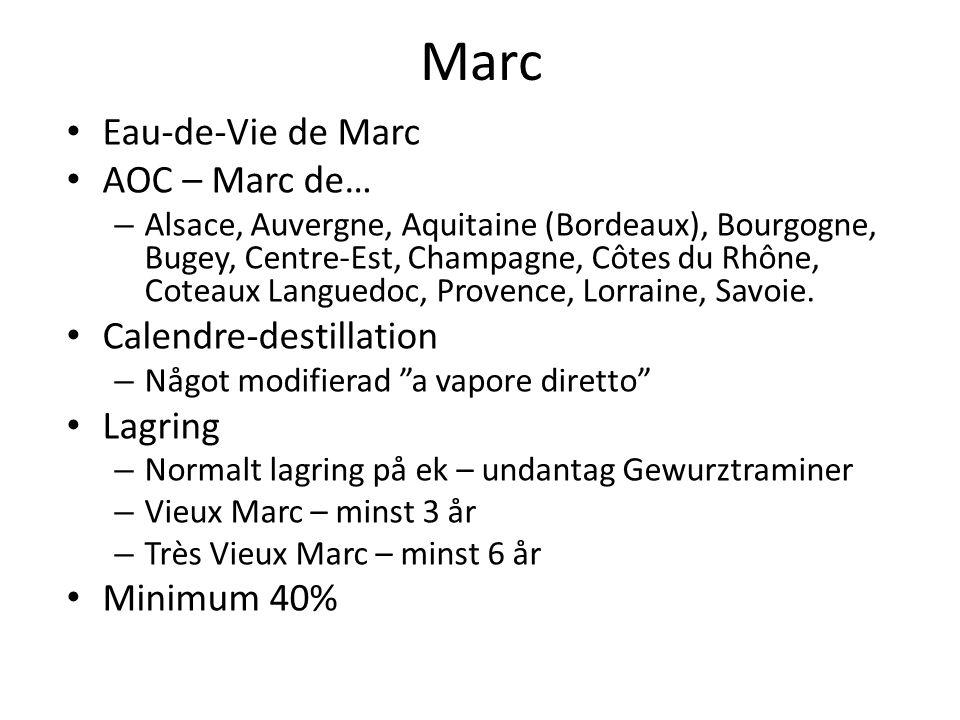 Marc Eau-de-Vie de Marc AOC – Marc de… – Alsace, Auvergne, Aquitaine (Bordeaux), Bourgogne, Bugey, Centre-Est, Champagne, Côtes du Rhône, Coteaux Languedoc, Provence, Lorraine, Savoie.