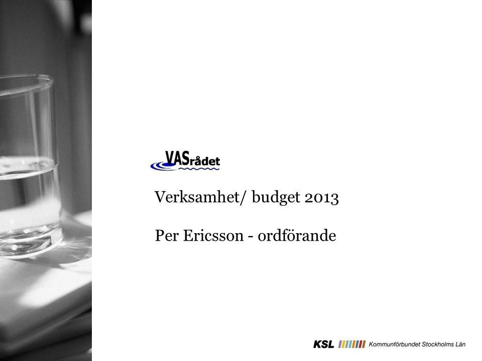 Verksamhet/ budget 2013 Per Ericsson - ordförande