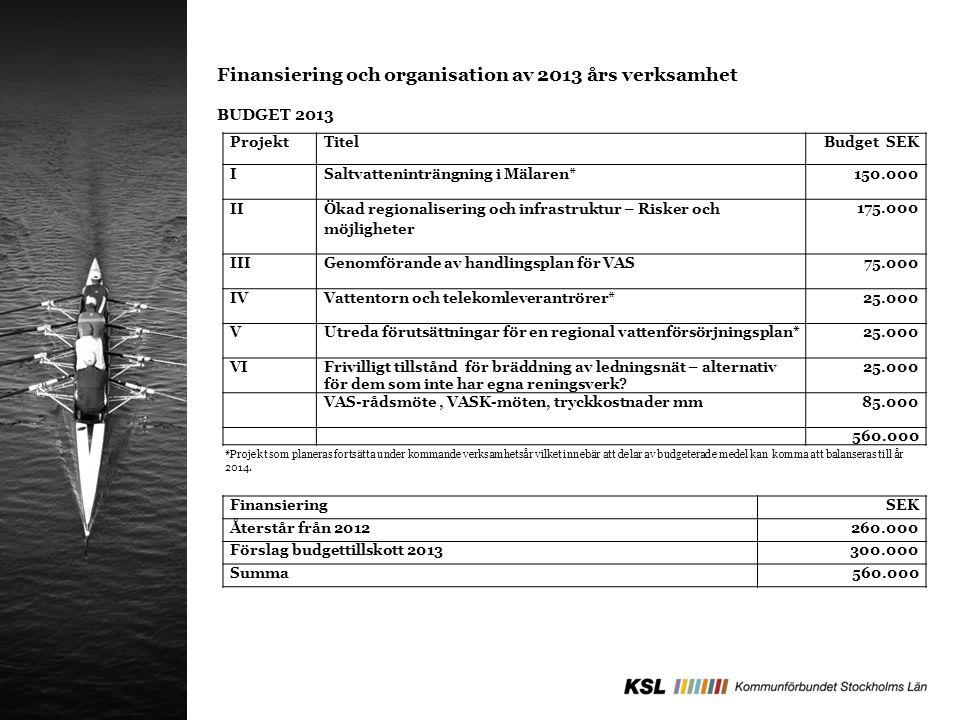 ProjektTitelBudget SEK ISaltvatteninträngning i Mälaren*150.000 II Ökad regionalisering och infrastruktur – Risker och möjligheter 175.000 IIIGenomför
