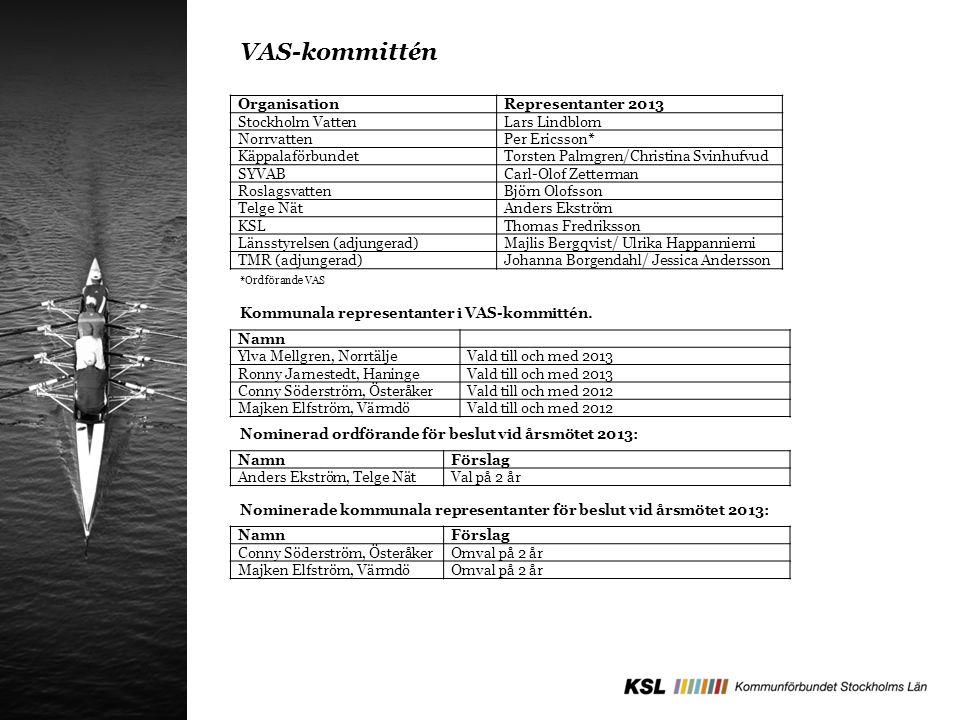 OrganisationRepresentanter 2013 Stockholm VattenLars Lindblom NorrvattenPer Ericsson* KäppalaförbundetTorsten Palmgren/Christina Svinhufvud SYVABCarl-