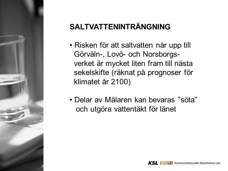 SALTVATTENINTRÄNGNING Risken för att saltvatten når upp till Görväln-, Lovö- och Norsborgs- verket är mycket liten fram till nästa sekelskifte (räknat