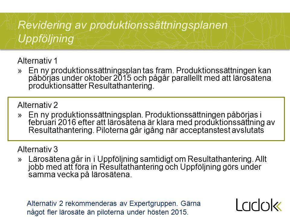 Revidering av produktionssättningsplanen Uppföljning Alternativ 1 »En ny produktionssättningsplan tas fram. Produktionssättningen kan påbörjas under o