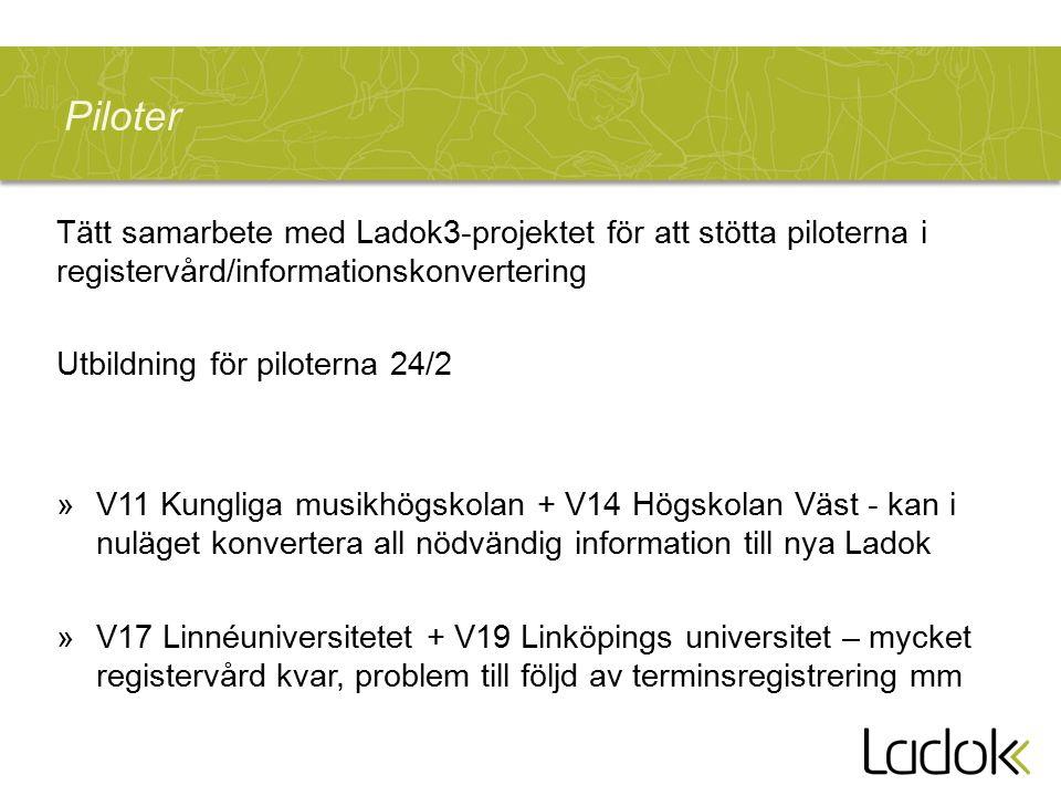 Piloter Tätt samarbete med Ladok3-projektet för att stötta piloterna i registervård/informationskonvertering Utbildning för piloterna 24/2 »V11 Kungliga musikhögskolan + V14 Högskolan Väst - kan i nuläget konvertera all nödvändig information till nya Ladok »V17 Linnéuniversitetet + V19 Linköpings universitet – mycket registervård kvar, problem till följd av terminsregistrering mm