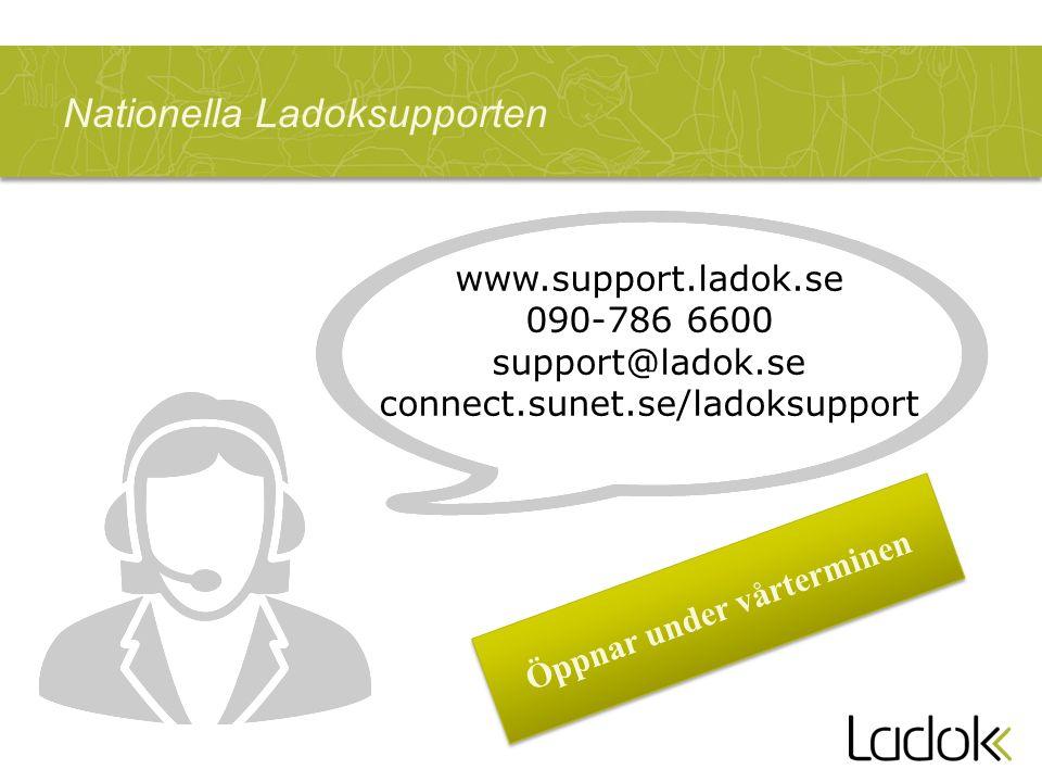 Nationella Ladoksupporten Öppnar under vårterminen www.support.ladok.se 090-786 6600 support@ladok.se connect.sunet.se/ladoksupport
