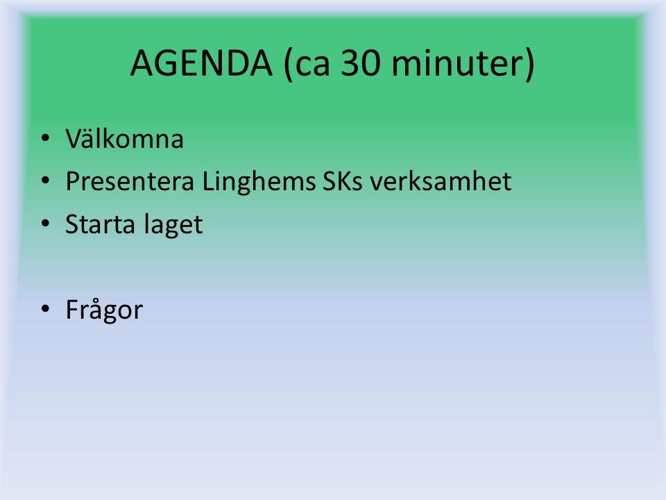 AGENDA (ca 30 minuter) Välkomna Presentera Linghems SKs verksamhet Starta laget Frågor