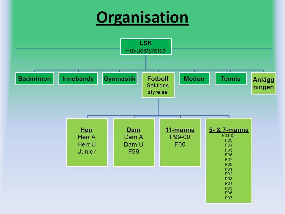 Organisation LSK Huvudstyrelse BadmintonInnebandyGymnastik Fotboll Sektions styrelse Herr Herr A Herr U Junior Dam Dam A Dam U F99 11-manna P99-00 F00