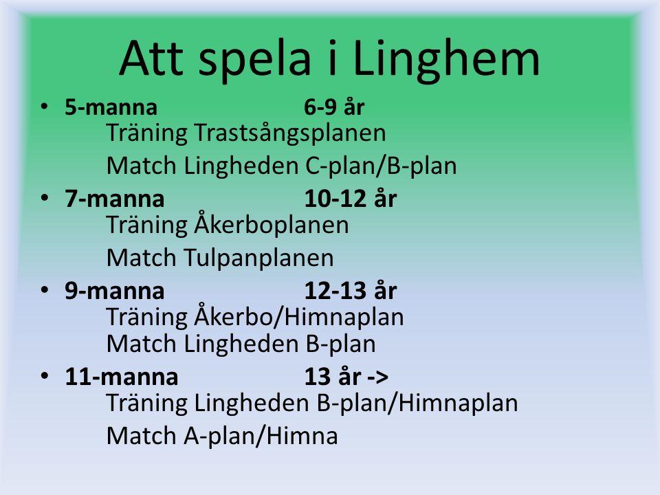 Att spela i Linghem 5-manna 6-9 år Träning Trastsångsplanen Match Lingheden C-plan/B-plan 7-manna 10-12 år Träning Åkerboplanen Match Tulpanplanen 9-m
