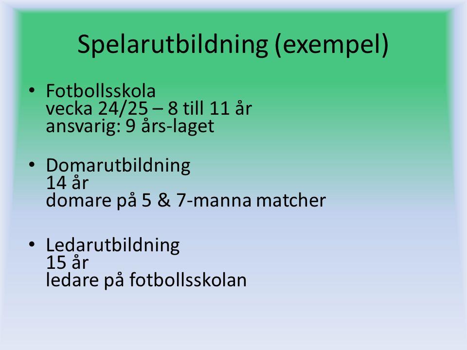 Spelarutbildning (exempel) Fotbollsskola vecka 24/25 – 8 till 11 år ansvarig: 9 års-laget Domarutbildning 14 år domare på 5 & 7-manna matcher Ledarutb