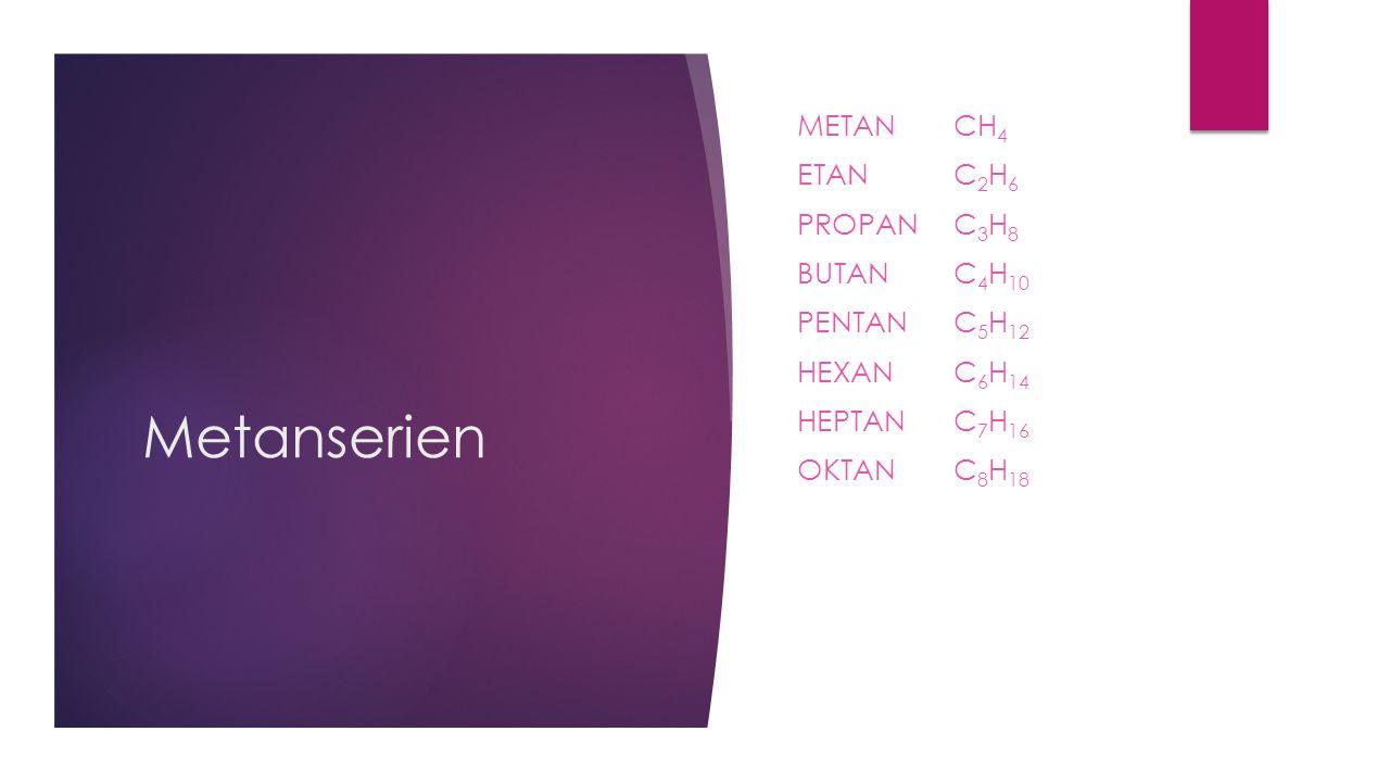 Metanserien METAN CH 4 ETAN C 2 H 6 PROPAN C 3 H 8 BUTAN C 4 H 10 PENTAN C 5 H 12 HEXANC 6 H 14 HEPTANC 7 H 16 OKTANC 8 H 18