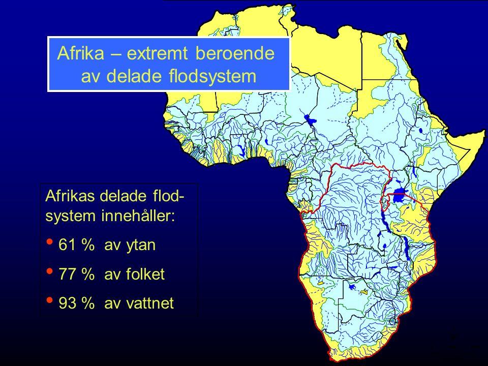 Afrika – extremt beroende av delade flodsystem Afrikas delade flod- system innehåller: 61 % av ytan 77 % av folket 93 % av vattnet