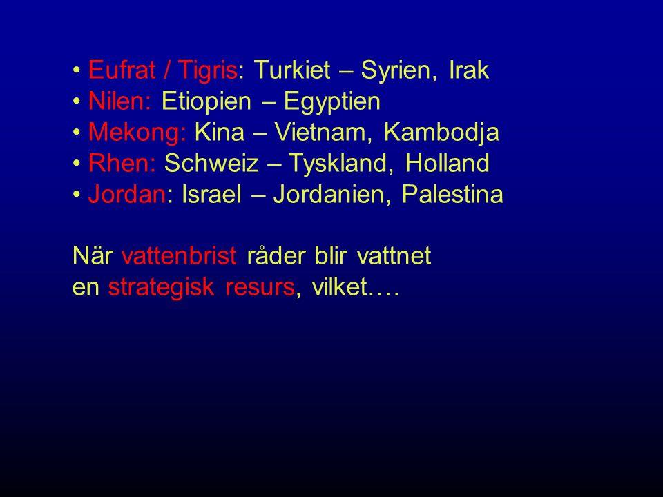Eufrat / Tigris: Turkiet – Syrien, Irak Nilen: Etiopien – Egyptien Mekong: Kina – Vietnam, Kambodja Rhen: Schweiz – Tyskland, Holland Jordan: Israel – Jordanien, Palestina När vattenbrist råder blir vattnet en strategisk resurs, vilket….