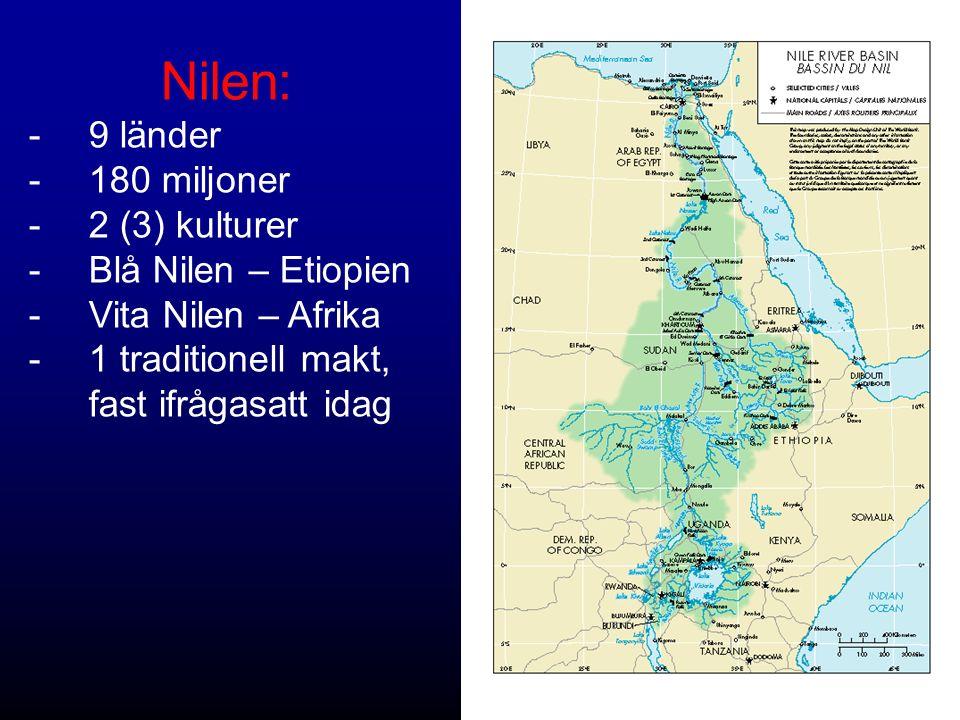 Nilen: -9 länder -180 miljoner -2 (3) kulturer -Blå Nilen – Etiopien -Vita Nilen – Afrika -1 traditionell makt, fast ifrågasatt idag