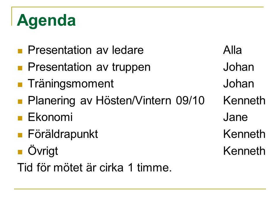 Agenda Presentation av ledareAlla Presentation av truppenJohan Träningsmoment Johan Planering av Hösten/Vintern 09/10Kenneth EkonomiJane FöräldrapunktKenneth ÖvrigtKenneth Tid för mötet är cirka 1 timme.