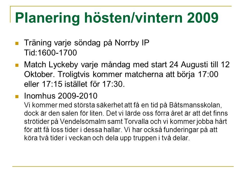 Planering hösten/vintern 2009 Träning varje söndag på Norrby IP Tid:1600-1700 Match Lyckeby varje måndag med start 24 Augusti till 12 Oktober. Troligt