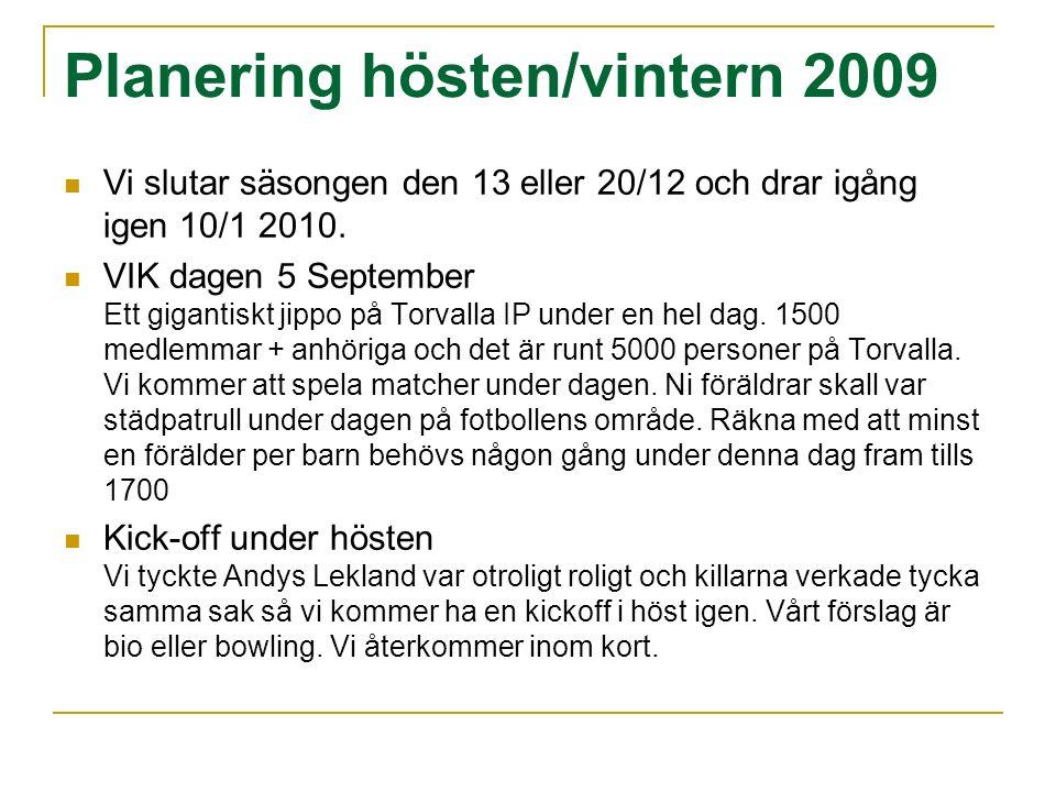 Planering hösten/vintern 2009 Vi slutar säsongen den 13 eller 20/12 och drar igång igen 10/1 2010.