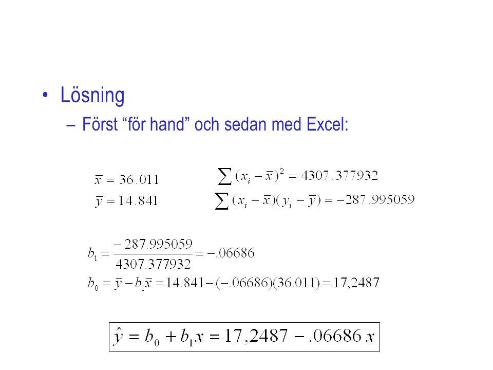 Lösning –Först för hand och sedan med Excel: