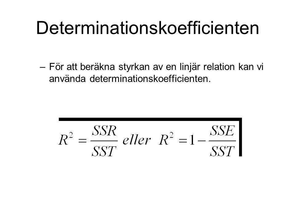 –För att beräkna styrkan av en linjär relation kan vi använda determinationskoefficienten. Determinationskoefficienten