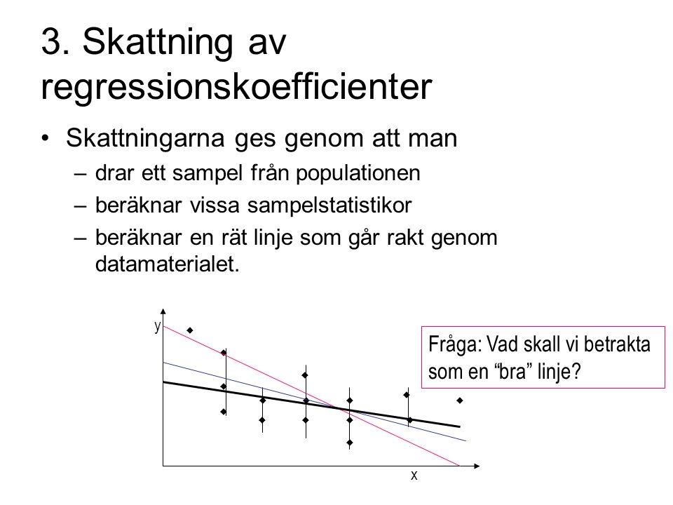 3. Skattning av regressionskoefficienter Skattningarna ges genom att man –drar ett sampel från populationen –beräknar vissa sampelstatistikor –beräkna