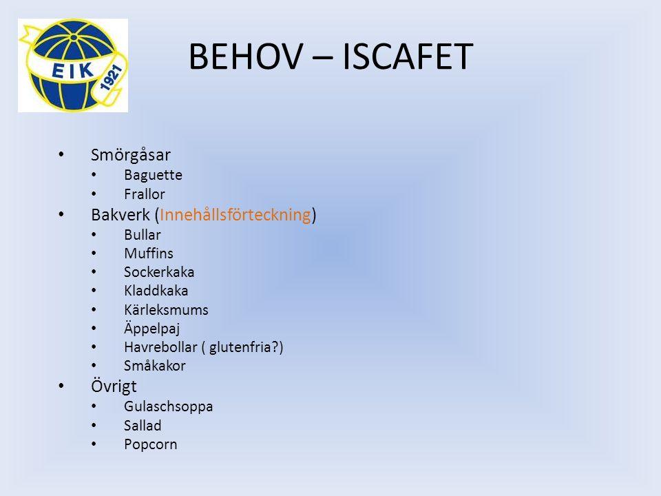 BEHOV – ISCAFET Smörgåsar Baguette Frallor Bakverk (Innehållsförteckning) Bullar Muffins Sockerkaka Kladdkaka Kärleksmums Äppelpaj Havrebollar ( glute