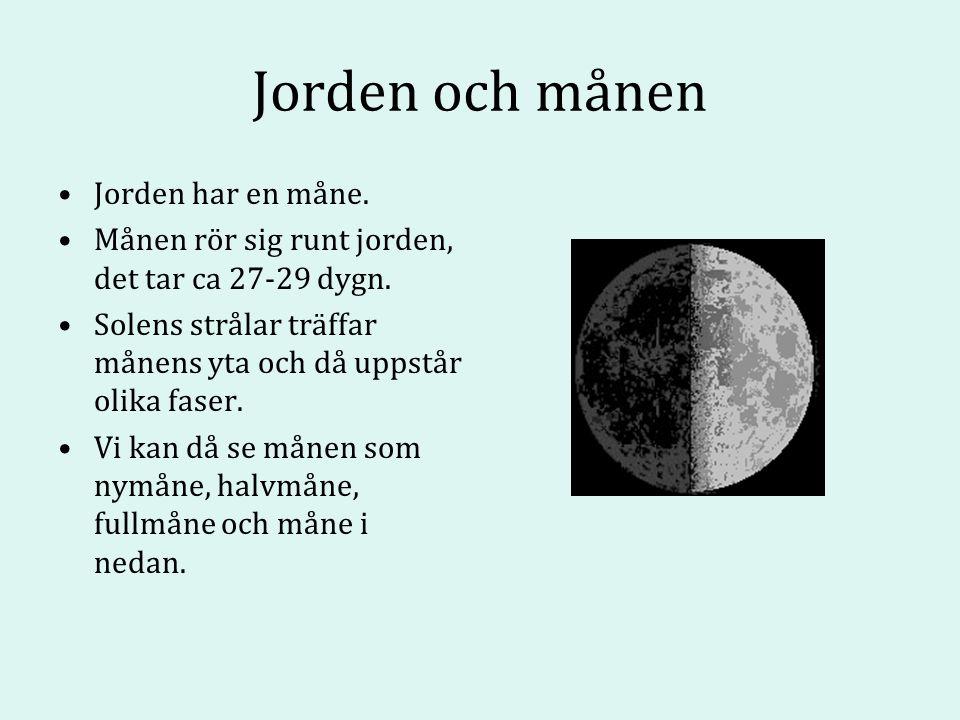 Jorden och månen Jorden har en måne. Månen rör sig runt jorden, det tar ca 27-29 dygn.