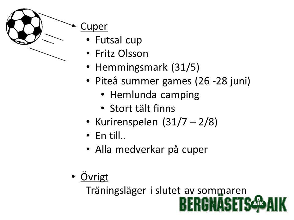 Cuper Futsal cup Fritz Olsson Hemmingsmark (31/5) Piteå summer games (26 -28 juni) Hemlunda camping Stort tält finns Kurirenspelen (31/7 – 2/8) En till..