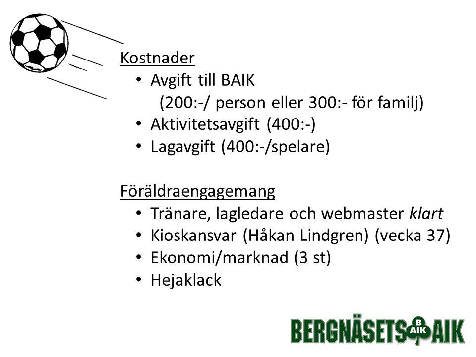 Kostnader Avgift till BAIK (200:-/ person eller 300:- för familj) Aktivitetsavgift (400:-) Lagavgift (400:-/spelare) Föräldraengagemang Tränare, lagledare och webmaster klart Kioskansvar (Håkan Lindgren) (vecka 37) Ekonomi/marknad (3 st) Hejaklack