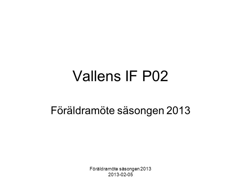 Föräldramöte säsongen 2013 2013-02-05 Vallens IF P02 Föräldramöte säsongen 2013