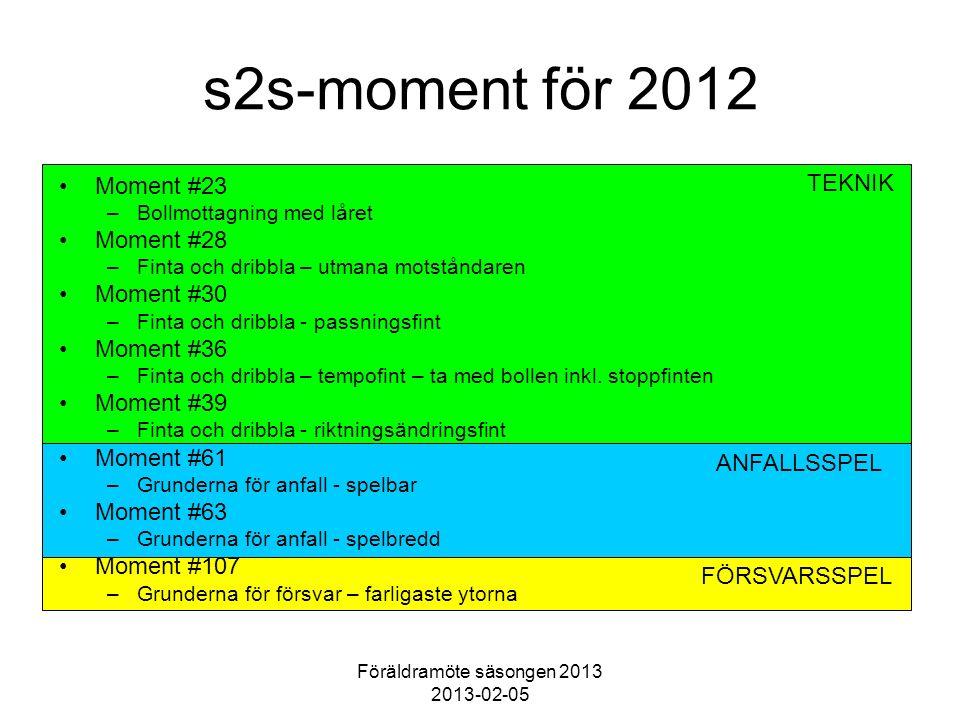 Föräldramöte säsongen 2013 2013-02-05 TEKNIK ANFALLSSPEL FÖRSVARSSPEL s2s-moment för 2012 Moment #23 –Bollmottagning med låret Moment #28 –Finta och dribbla – utmana motståndaren Moment #30 –Finta och dribbla - passningsfint Moment #36 –Finta och dribbla – tempofint – ta med bollen inkl.