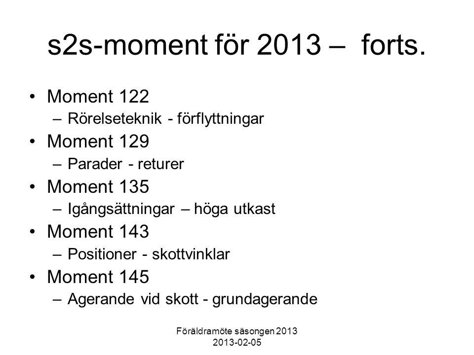 Föräldramöte säsongen 2013 2013-02-05 s2s-moment för 2013 – forts. Moment 122 –Rörelseteknik - förflyttningar Moment 129 –Parader - returer Moment 135