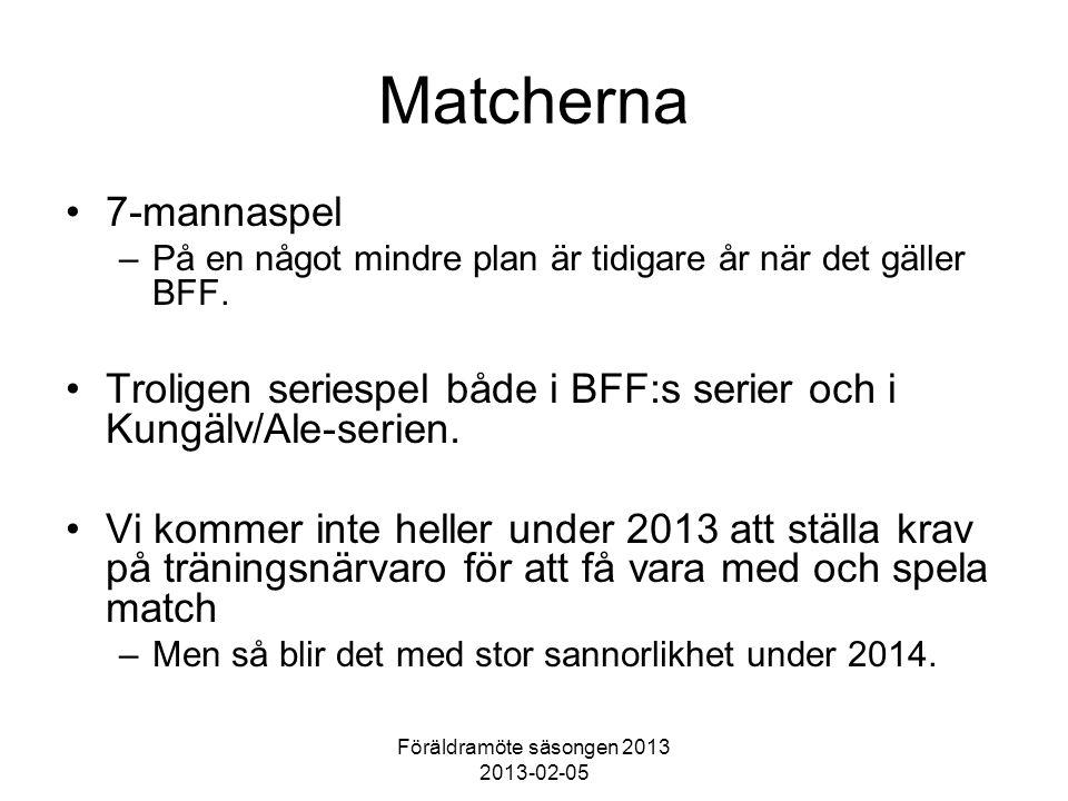 Föräldramöte säsongen 2013 2013-02-05 Matcherna 7-mannaspel –På en något mindre plan är tidigare år när det gäller BFF. Troligen seriespel både i BFF:
