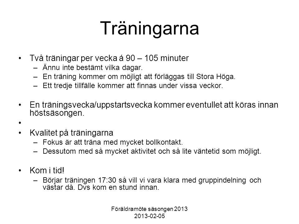 Föräldramöte säsongen 2013 2013-02-05 Träningarna Två träningar per vecka á 90 – 105 minuter –Ännu inte bestämt vilka dagar.
