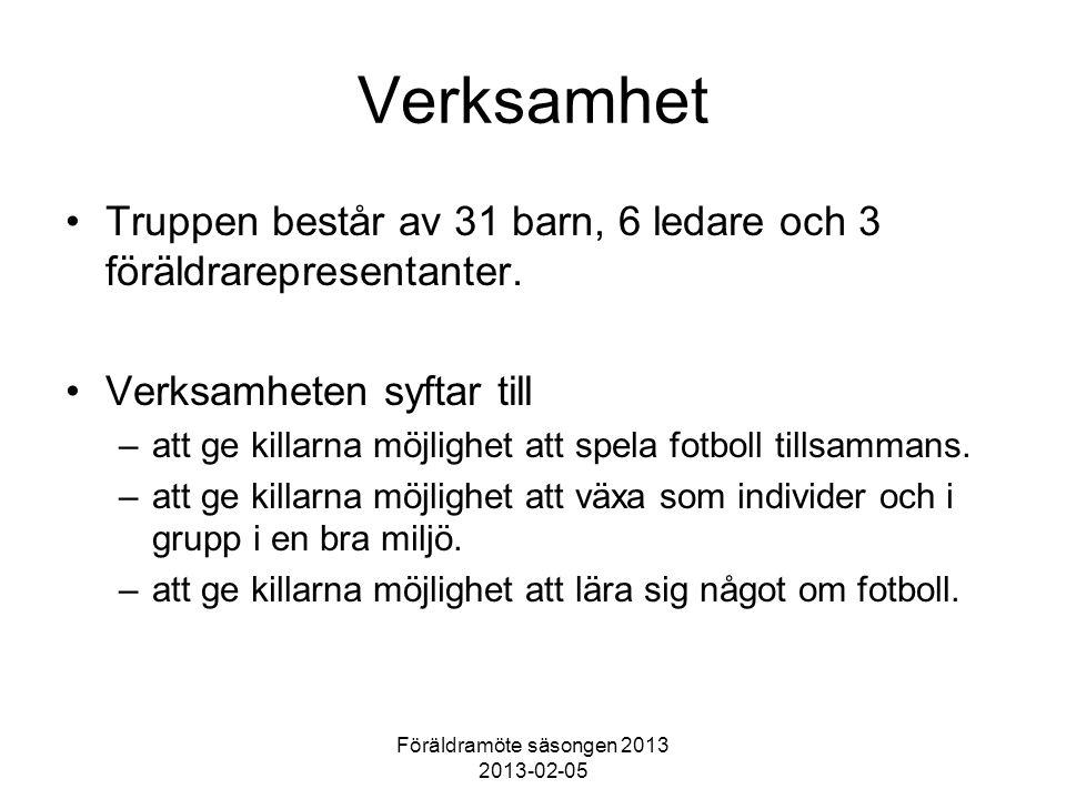 Föräldramöte säsongen 2013 2013-02-05 Verksamhet Truppen består av 31 barn, 6 ledare och 3 föräldrarepresentanter.