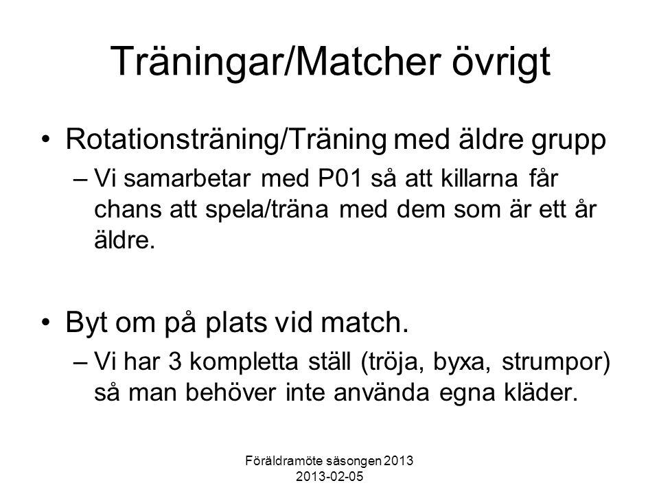 Föräldramöte säsongen 2013 2013-02-05 Träningar/Matcher övrigt Rotationsträning/Träning med äldre grupp –Vi samarbetar med P01 så att killarna får cha