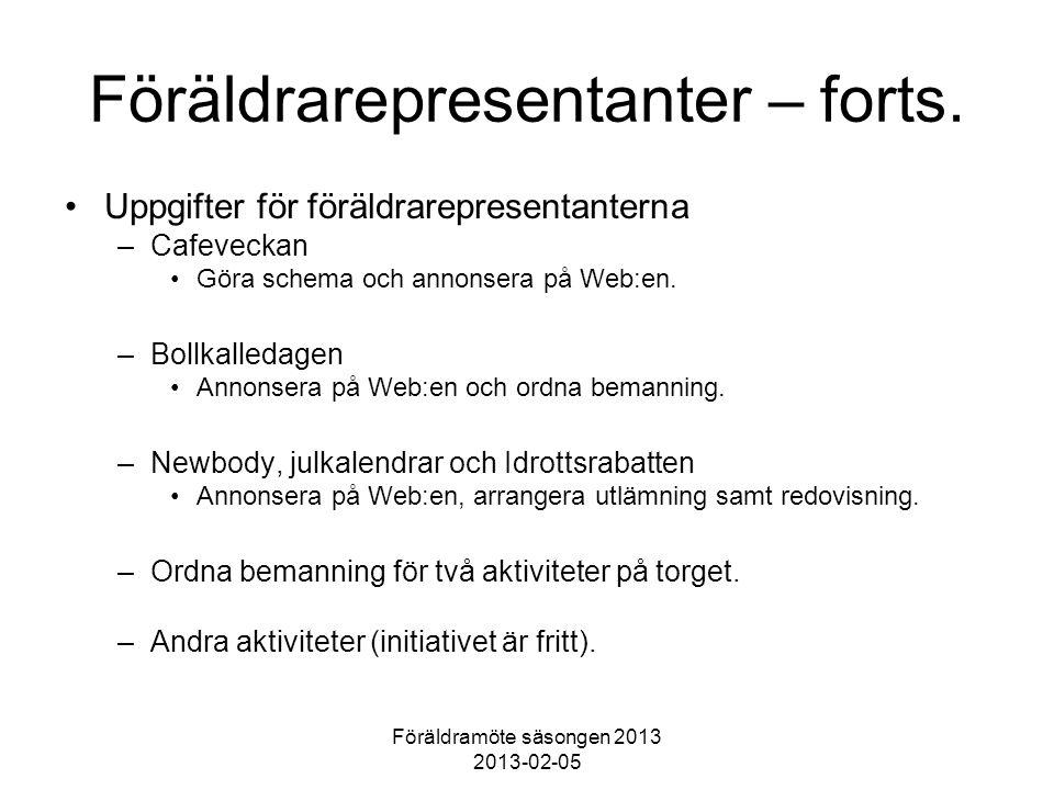 Föräldramöte säsongen 2013 2013-02-05 Föräldrarepresentanter – forts. Uppgifter för föräldrarepresentanterna –Cafeveckan Göra schema och annonsera på
