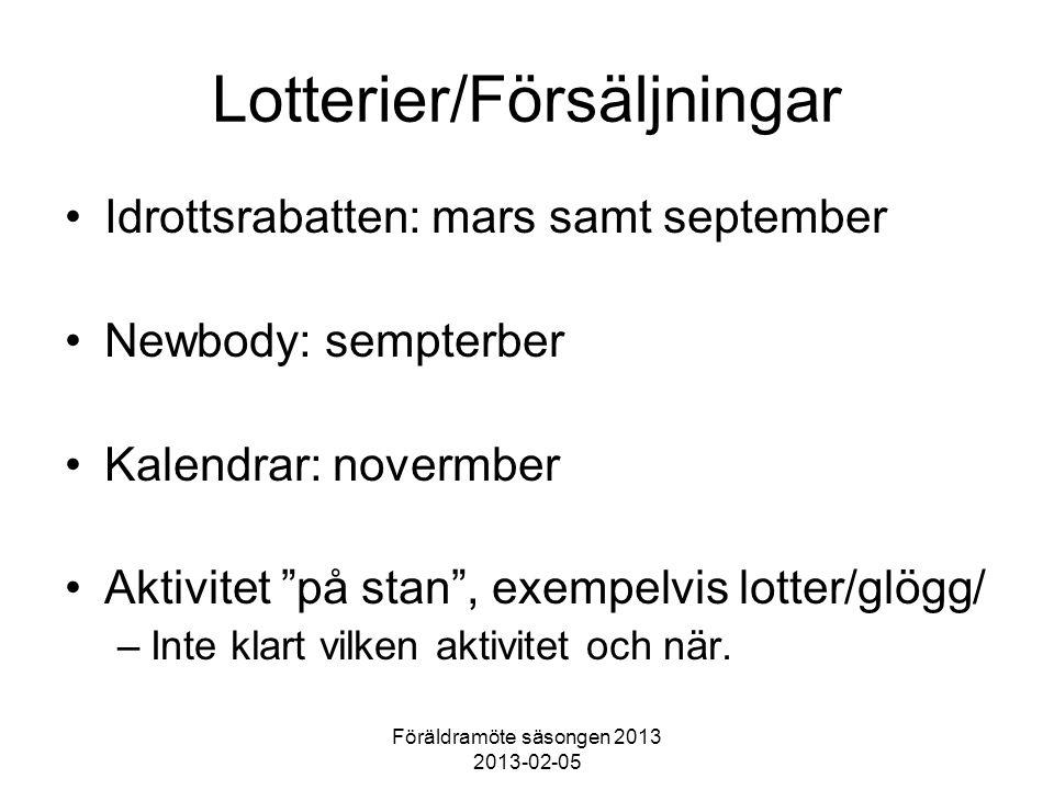 Föräldramöte säsongen 2013 2013-02-05 Lotterier/Försäljningar Idrottsrabatten: mars samt september Newbody: sempterber Kalendrar: novermber Aktivitet