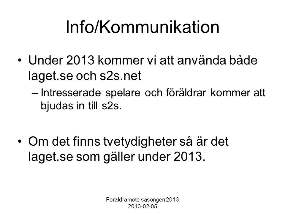Föräldramöte säsongen 2013 2013-02-05 Info/Kommunikation Under 2013 kommer vi att använda både laget.se och s2s.net –Intresserade spelare och föräldra