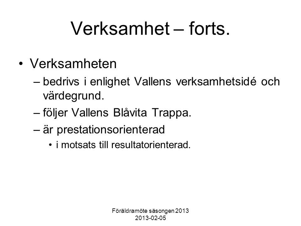 Föräldramöte säsongen 2013 2013-02-05 Verksamhet – forts. Verksamheten –bedrivs i enlighet Vallens verksamhetsidé och värdegrund. –följer Vallens Blåv