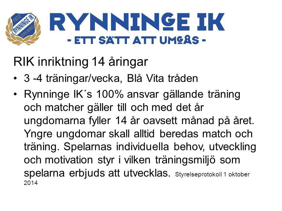 RIK inriktning 14 åringar 3 -4 träningar/vecka, Blå Vita tråden Rynninge IK´s 100% ansvar gällande träning och matcher gäller till och med det år ungdomarna fyller 14 år oavsett månad på året.